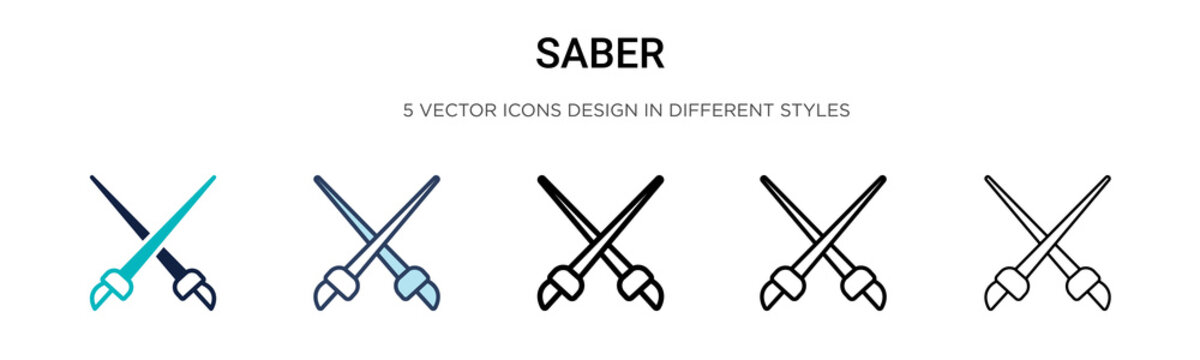 Saber icon in filled, thin line, outline and stroke style. Vector illustration of two colored and black saber vector icons designs can be used for mobile, ui, web