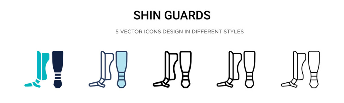 Shin guards icon in filled, thin line, outline and stroke style. Vector illustration of two colored and black shin guards vector icons designs can be used for mobile, ui, web