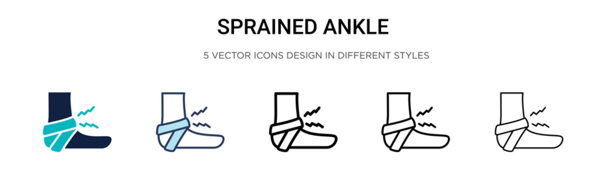 Sprained ankle icon in filled, thin line, outline and stroke style. Vector illustration of two colored and black sprained ankle vector icons designs can be used for mobile, ui, web
