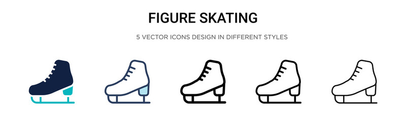 Figure skating icon in filled, thin line, outline and stroke style. Vector illustration of two colored and black figure skating vector icons designs can be used for mobile, ui, web