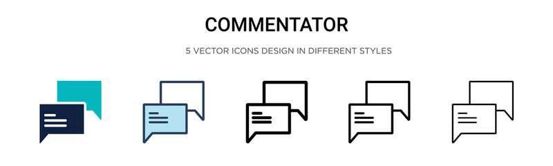 Commentator icon in filled, thin line, outline and stroke style. Vector illustration of two colored and black commentator vector icons designs can be used for mobile, ui, web
