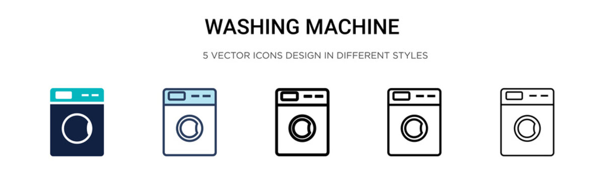 Washing machine icon icon in filled, thin line, outline and stroke style. Vector illustration of two colored and black washing machine icon vector icons designs can be used for mobile, ui, web