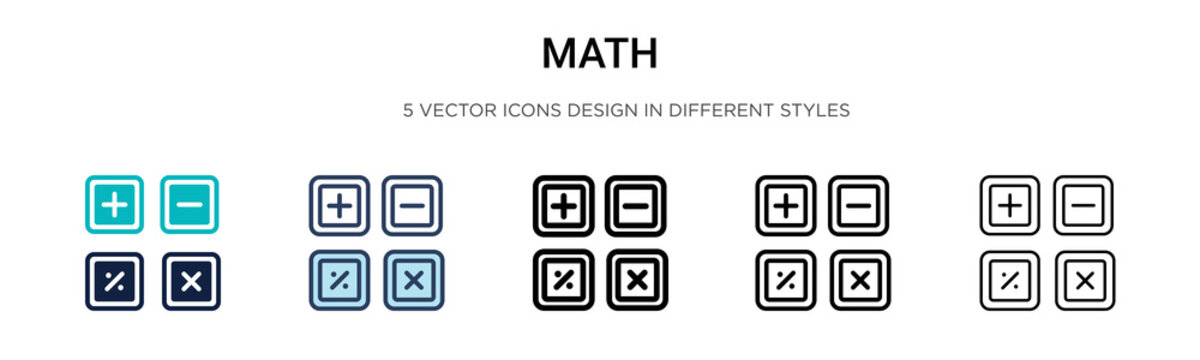 Math icon in filled, thin line, outline and stroke style. Vector illustration of two colored and black math vector icons designs can be used for mobile, ui, web