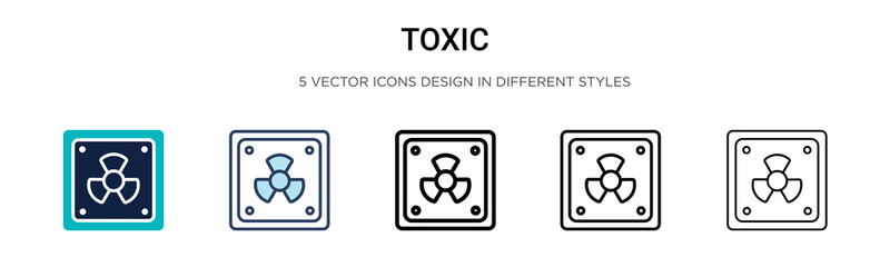 Toxic symbol icon in filled, thin line, outline and stroke style. Vector illustration of two colored and black toxic symbol vector icons designs can be used for mobile, ui, web