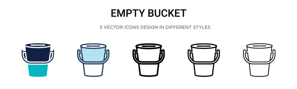 Empty bucket icon in filled, thin line, outline and stroke style. Vector illustration of two colored and black empty bucket vector icons designs can be used for mobile, ui, web
