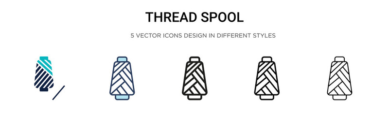 Thread spool icon in filled, thin line, outline and stroke style. Vector illustration of two colored and black thread spool vector icons designs can be used for mobile, ui, web