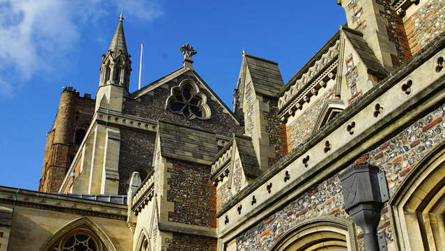 Low Angle View Of St Albans Cathedral Against Sky In City