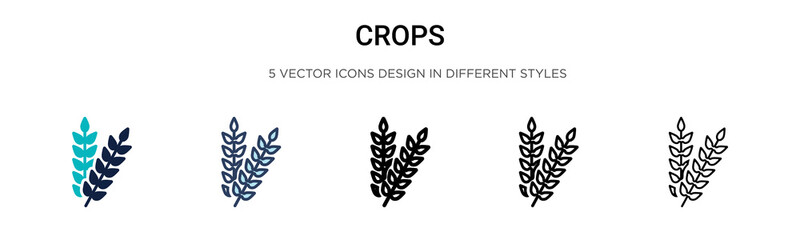 Crops icon in filled, thin line, outline and stroke style. Vector illustration of two colored and black crops vector icons designs can be used for mobile, ui, web