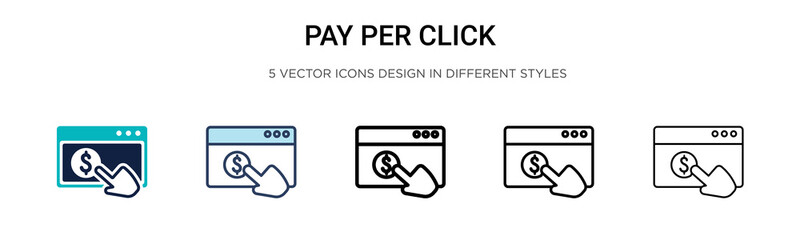 Pay per click icon in filled, thin line, outline and stroke style. Vector illustration of two colored and black pay per click vector icons designs can be used for mobile, ui, web