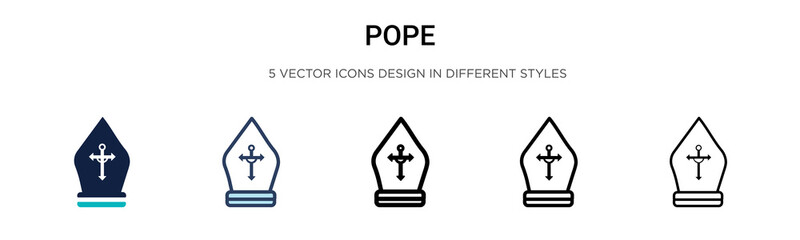 Pope icon in filled, thin line, outline and stroke style. Vector illustration of two colored and black pope vector icons designs can be used for mobile, ui, web Fotomurales