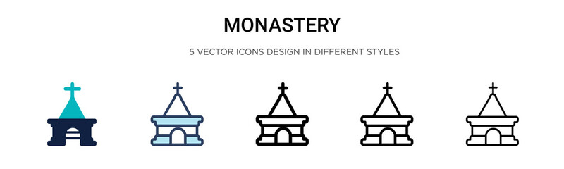 Monastery icon in filled, thin line, outline and stroke style. Vector illustration of two colored and black monastery vector icons designs can be used for mobile, ui, web Fotomurales