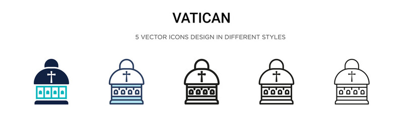 Vatican icon in filled, thin line, outline and stroke style. Vector illustration of two colored and black vatican vector icons designs can be used for mobile, ui, web Fotomurales