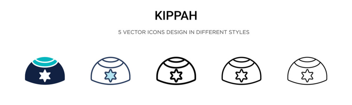 Kippah icon in filled, thin line, outline and stroke style. Vector illustration of two colored and black kippah vector icons designs can be used for mobile, ui, web