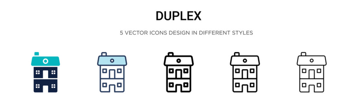 Duplex icon in filled, thin line, outline and stroke style. Vector illustration of two colored and black duplex vector icons designs can be used for mobile, ui, web