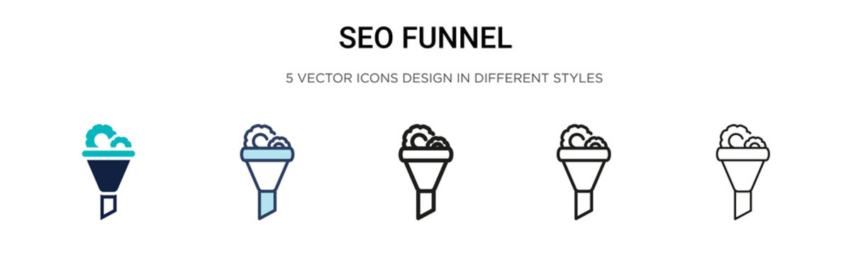 Seo funnel icon in filled, thin line, outline and stroke style. Vector illustration of two colored and black seo funnel vector icons designs can be used for mobile, ui, web