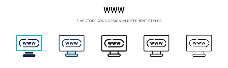 Www icon in filled, thin line, outline and stroke style. Vector illustration of two colored and black www vector icons designs can be used for mobile, ui, web