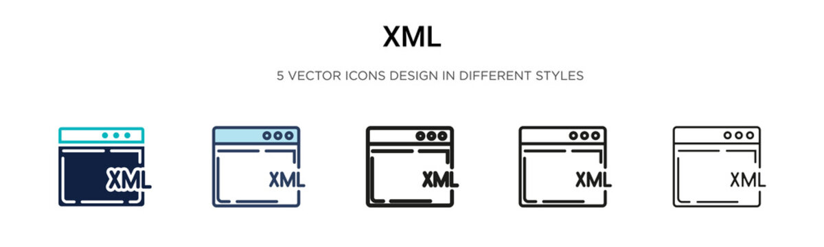 Xml icon in filled, thin line, outline and stroke style. Vector illustration of two colored and black xml vector icons designs can be used for mobile, ui, web
