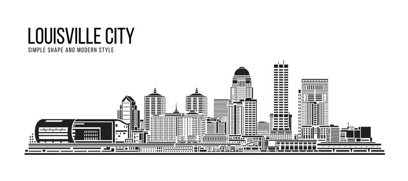 Cityscape Building Abstract Simple shape and modern style art Vector design - Louisville city