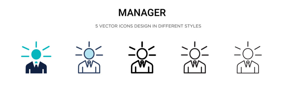 Manager icon in filled, thin line, outline and stroke style. Vector illustration of two colored and black manager vector icons designs can be used for mobile, ui, web