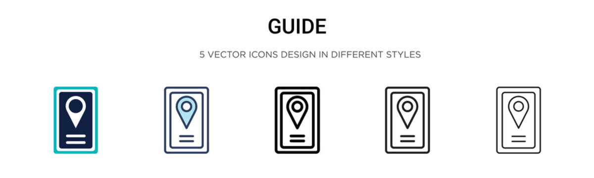 Guide icon in filled, thin line, outline and stroke style. Vector illustration of two colored and black guide vector icons designs can be used for mobile, ui, web