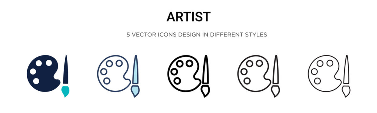 Artist icon in filled, thin line, outline and stroke style. Vector illustration of two colored and black artist vector icons designs can be used for mobile, ui, web