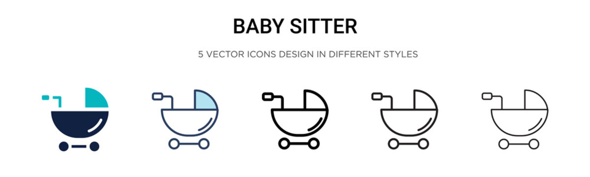 Baby sitter icon in filled, thin line, outline and stroke style. Vector illustration of two colored and black baby sitter vector icons designs can be used for mobile, ui, web