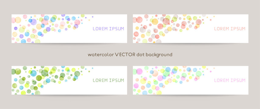 Set of colorful vector watercolor backgrounds with white space for text. web banners template
