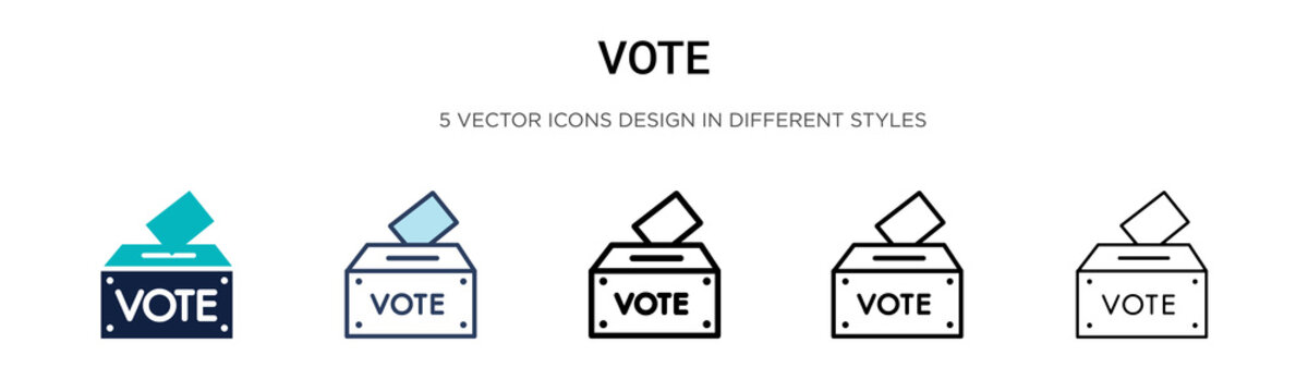 Vote icon in filled, thin line, outline and stroke style. Vector illustration of two colored and black vote vector icons designs can be used for mobile, ui, web