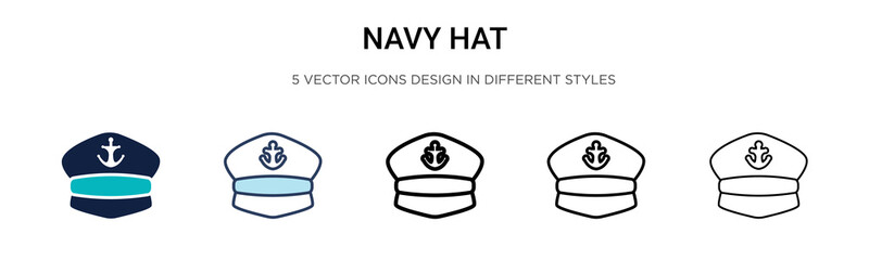 Navy hat icon in filled, thin line, outline and stroke style. Vector illustration of two colored and black navy hat vector icons designs can be used for mobile, ui, web