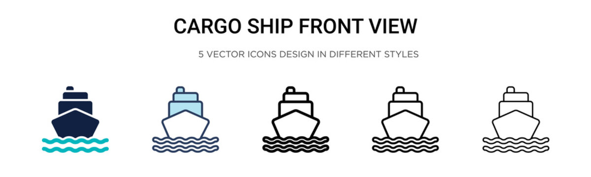 Cargo ship front view icon in filled, thin line, outline and stroke style. Vector illustration of two colored and black cargo ship front view vector icons designs can be used for mobile, ui, web