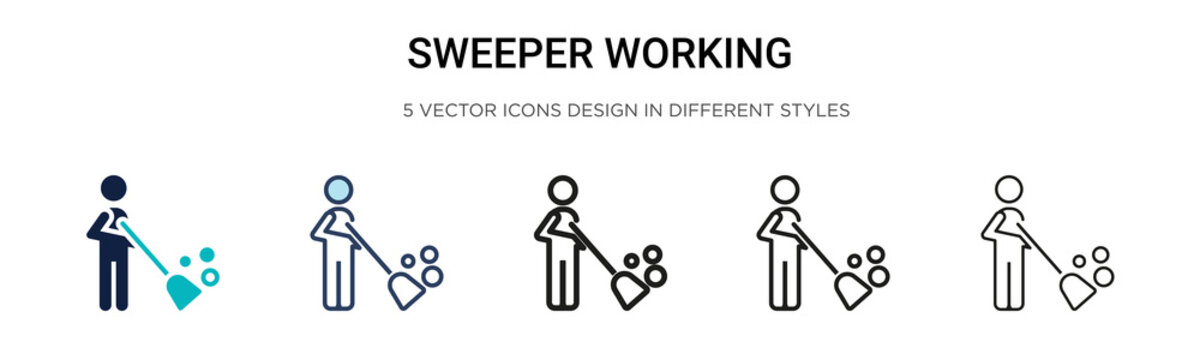 Sweeper working icon in filled, thin line, outline and stroke style. Vector illustration of two colored and black sweeper working vector icons designs can be used for mobile, ui, web