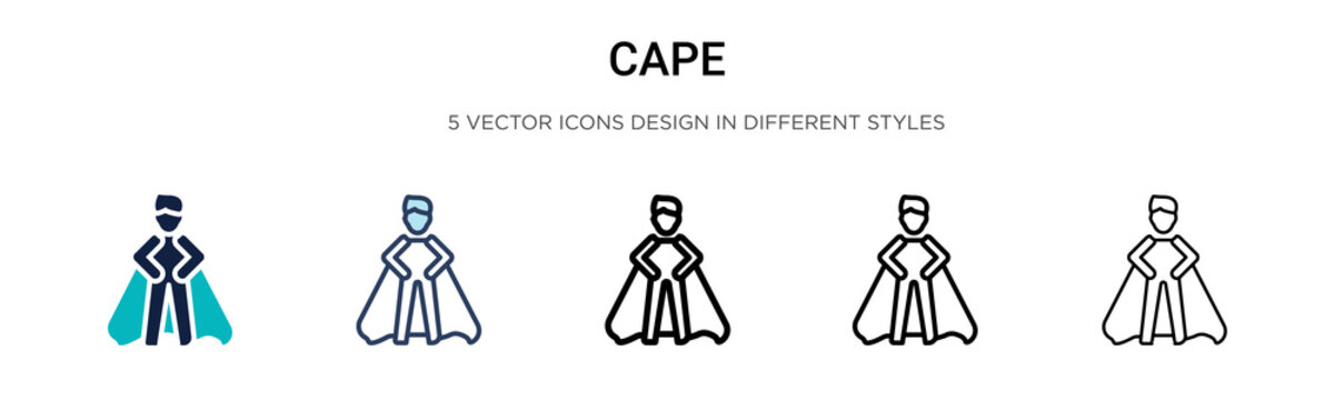 Cape icon in filled, thin line, outline and stroke style. Vector illustration of two colored and black cape vector icons designs can be used for mobile, ui, web