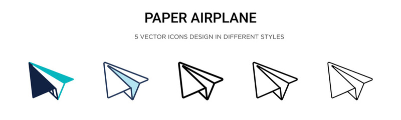 Paper airplane icon in filled, thin line, outline and stroke style. Vector illustration of two colored and black paper airplane vector icons designs can be used for mobile, ui, web