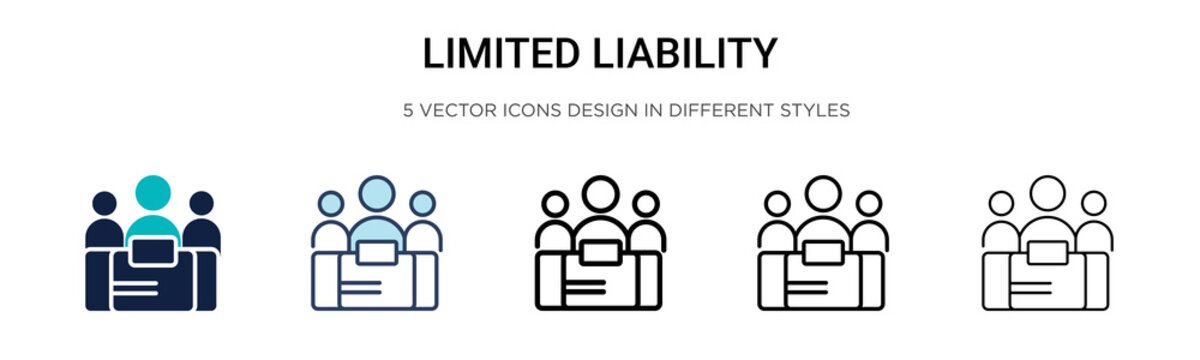 Limited liability icon in filled, thin line, outline and stroke style. Vector illustration of two colored and black limited liability vector icons designs can be used for mobile, ui, web