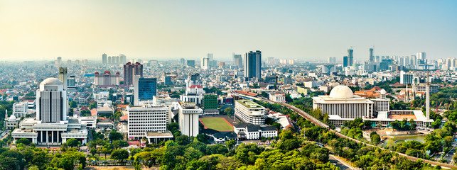 Aerial view of Jakarta from the National Monument. The capital of Indonesia Papier Peint