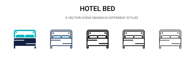 Hotel bed icon in filled, thin line, outline and stroke style. Vector illustration of two colored and black hotel bed vector icons designs can be used for mobile, ui, web Wall mural