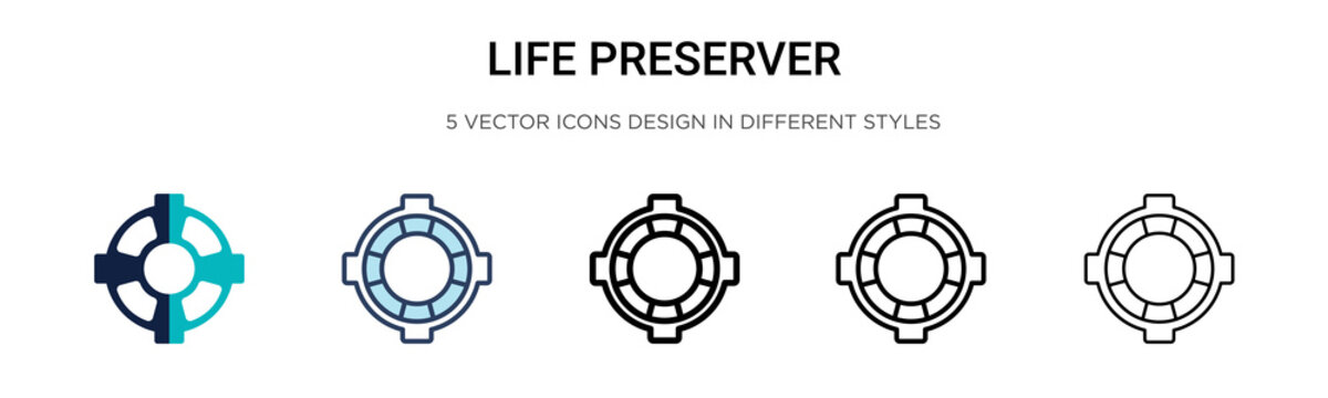 Life preserver icon in filled, thin line, outline and stroke style. Vector illustration of two colored and black life preserver vector icons designs can be used for mobile, ui, web