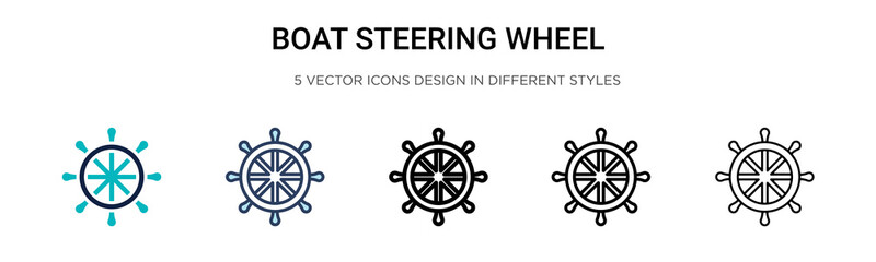 Boat steering wheel icon in filled, thin line, outline and stroke style. Vector illustration of two colored and black boat steering wheel vector icons designs can be used for mobile, ui, web