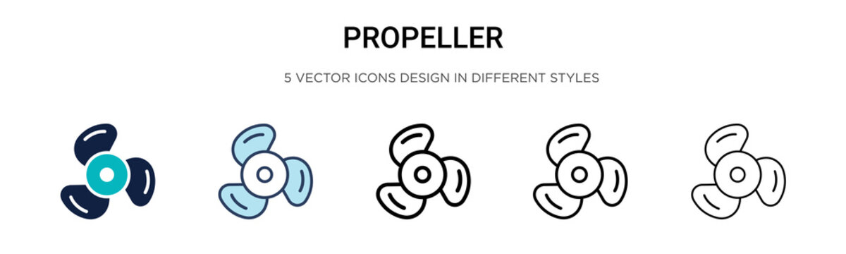 Propeller icon in filled, thin line, outline and stroke style. Vector illustration of two colored and black propeller vector icons designs can be used for mobile, ui, web