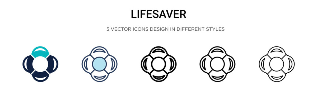 Lifesaver icon in filled, thin line, outline and stroke style. Vector illustration of two colored and black lifesaver vector icons designs can be used for mobile, ui, web