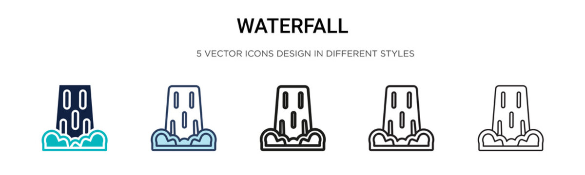 Waterfall icon in filled, thin line, outline and stroke style. Vector illustration of two colored and black waterfall vector icons designs can be used for mobile, ui, web