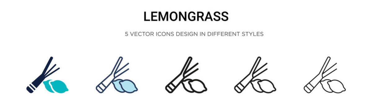Lemongrass icon in filled, thin line, outline and stroke style. Vector illustration of two colored and black lemongrass vector icons designs can be used for mobile, ui, web
