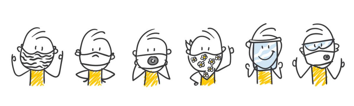 Strichfiguren / Strichmännchen: Schutzmasken, Schutz. (Nr. 476)