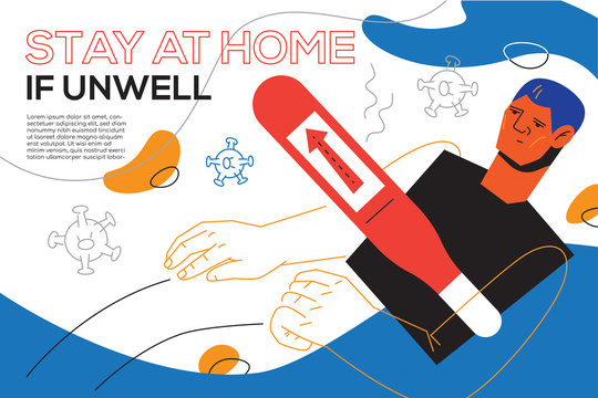 Stay at home if unwell - flat design style banner