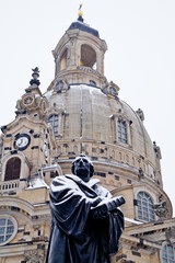 Statue Of Martin Luther King Against Dresden Frauenkirche