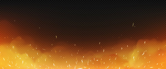 Realistic fire with smoke and weld sparks, flame isolated on transparent background. Burning campfire, blaze effect, glow orange and yellow shining flare with steam, 3d vectorframe, border