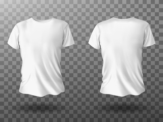 White t-shirt mockup, male t shirt with short sleeves vector template front back view. Blank apparel design for men, sportswear, casual clothing isolated on transparent background realistic 3d mock up
