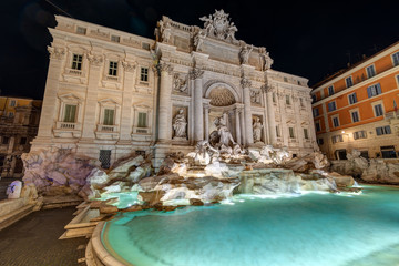 Aluminium Prints Rome The famous Fontana di Trevi in Rome at night with no people