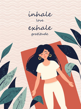 Vector woman is doing yoga in shavasana pose in the rug surrounded tropical plants and text inhale love exhale gratitude