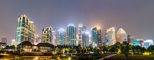 Night panorama of Jakarta, the capital of Indonesia Wall mural